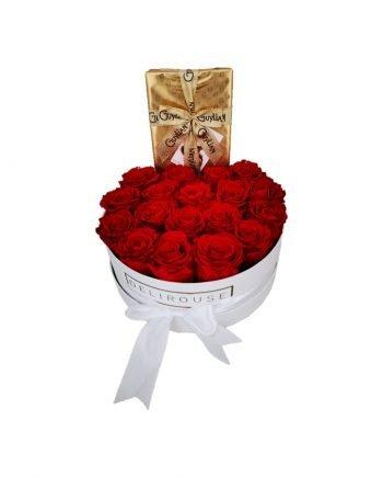 Rosas Preservadas en Caja Grande y Chocolate | Delirouse