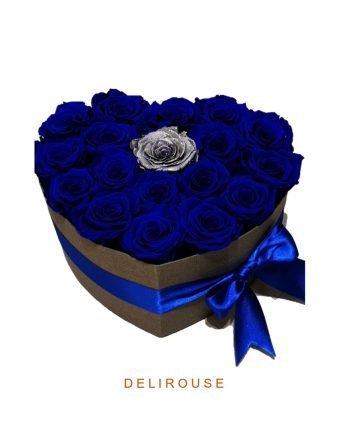 Caja Corazón de Rosas Clásicas y Preservadas Combinadas