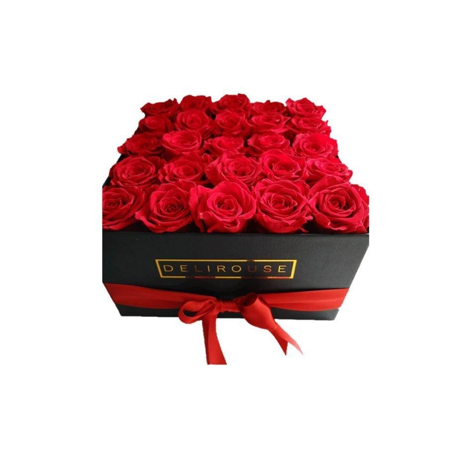 Caja Cuadrada Grande con Rosas Eternas