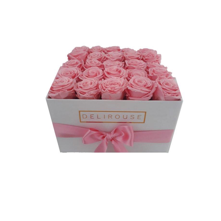 Caja Cuadrada Grande con Rosas Eternas   Rosas Naturales Preservadas en Caja Cuadrada Grande #1
