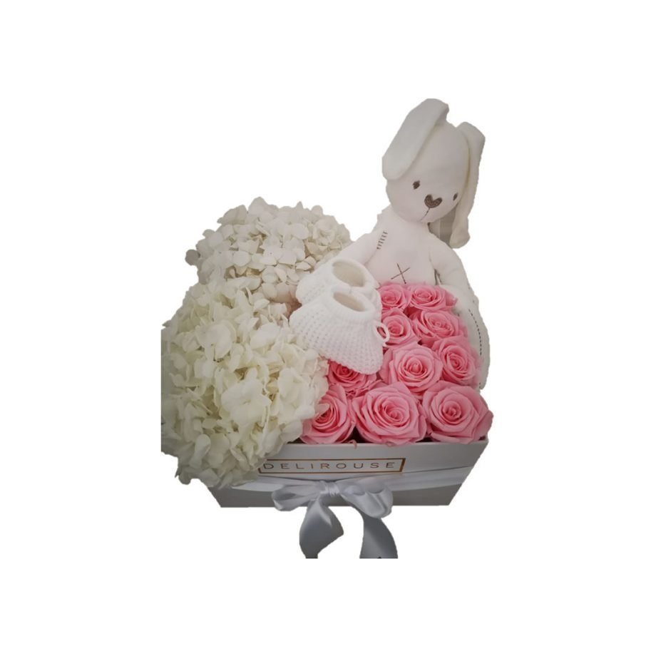 Caja Grande con Set de Bebé, Hortensias y Rosas Preservadas