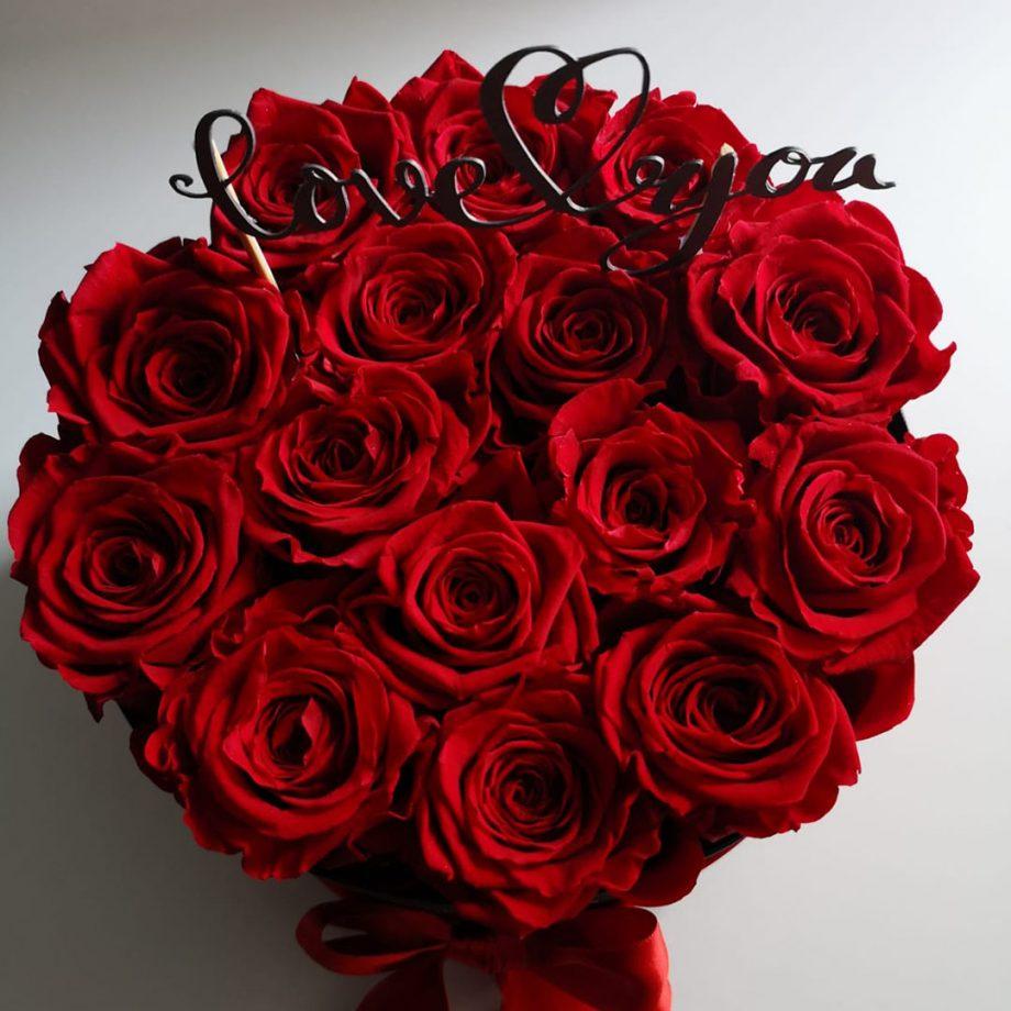 Caja de Rosas Preservadas con Mensaje