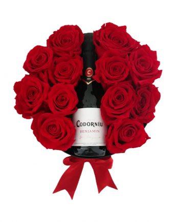 Rosas Eternas y Botella de Cava