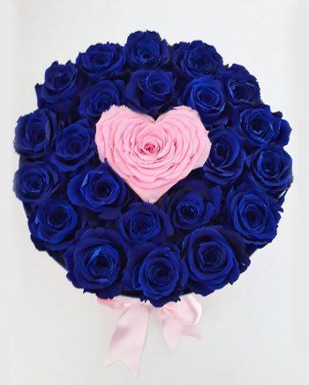 Rosas Preservadas Azules - Caja Cilíndrica Grande con Rosas Azules