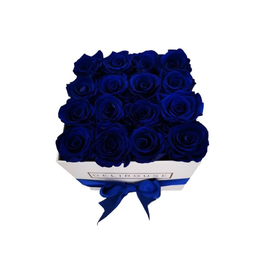 Caja Cuadrada Mediana de Rosas Preservadas