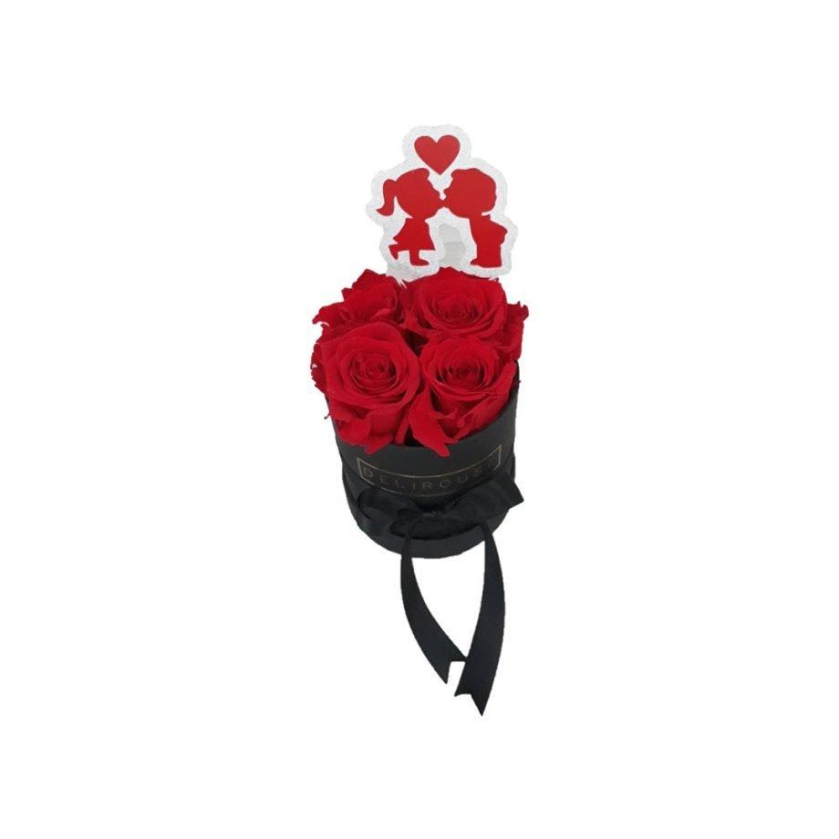 Caja Mini de Rosas Eternas con Topper Personalizado 2