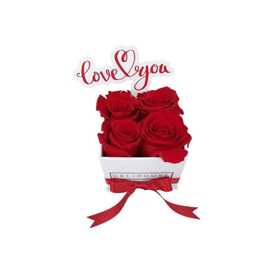 Caja Mini de Rosas Eternas con Topper Personalizado 5
