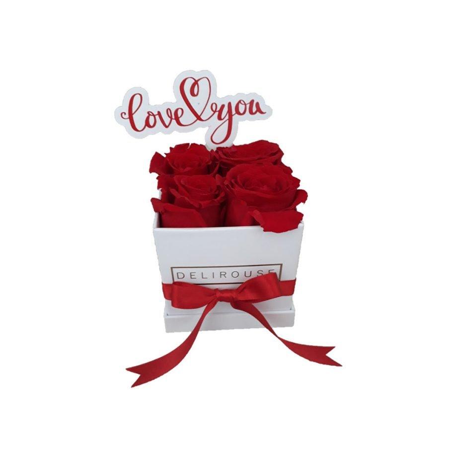 Caja Mini de Rosas Eternas con Topper Personalizado