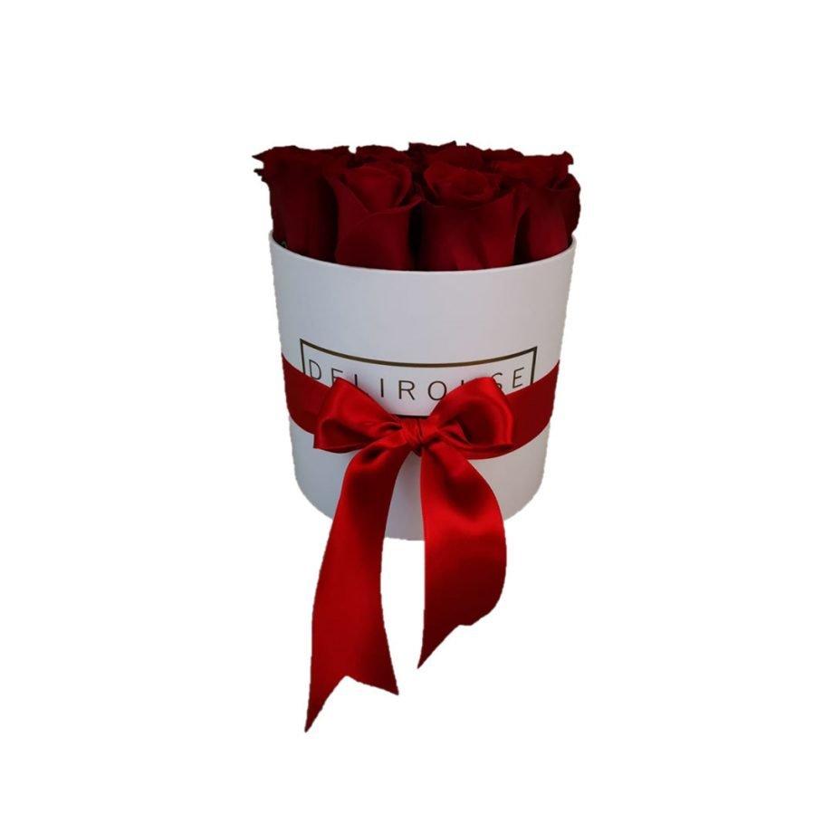 Caja Redonda Pequeña con Rosas Eternas