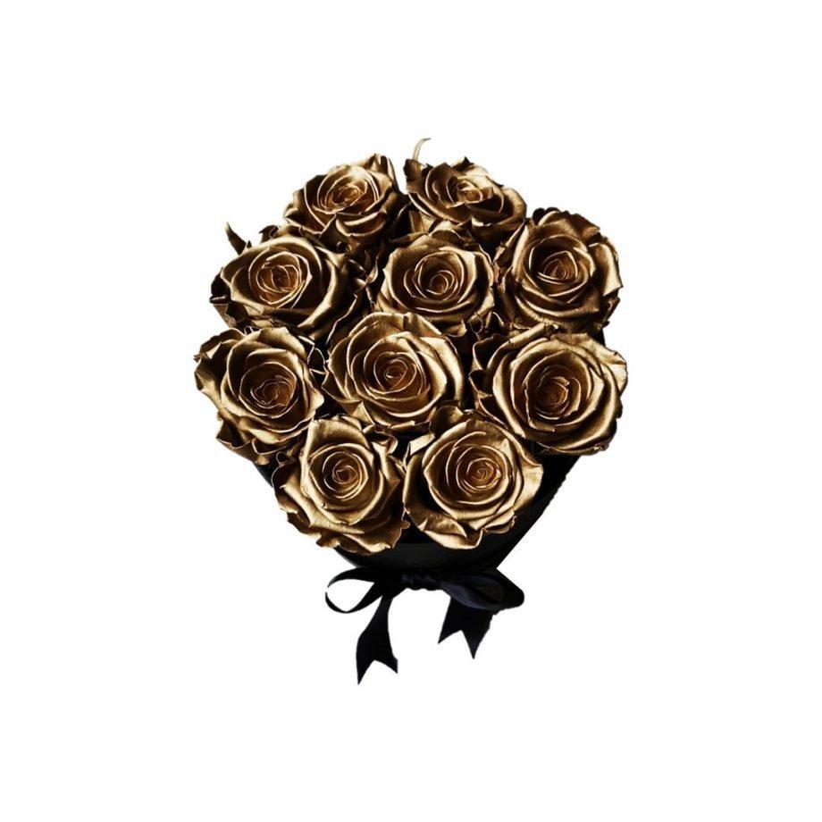 Rosas Doradas Eternas en Caja Cilíndrica Mediana
