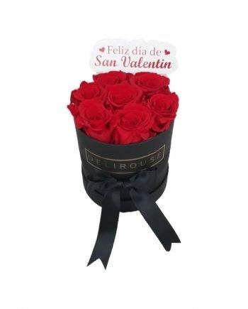 Caja Cilíndrica Pequeña de Rosas con Topper Personalizado - Caja Pequeña Cilíndrica de Rosas con Topper Personalizado