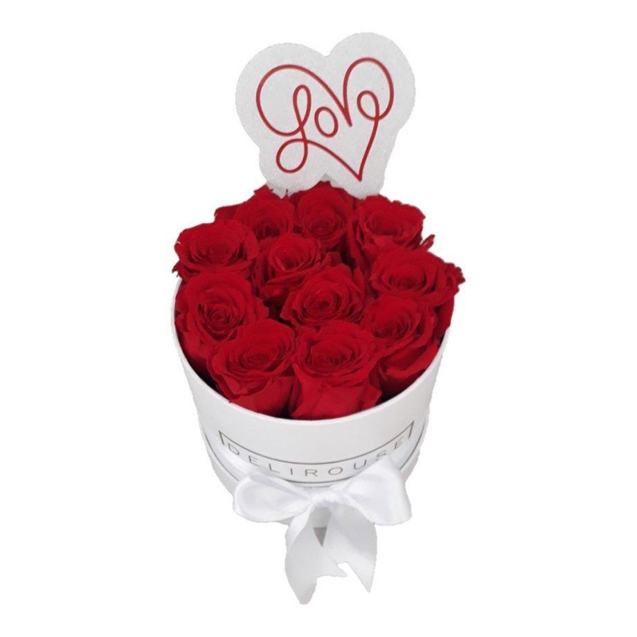 Caja Mediana Cilindrica de Rosas con Topper Personalizado 2