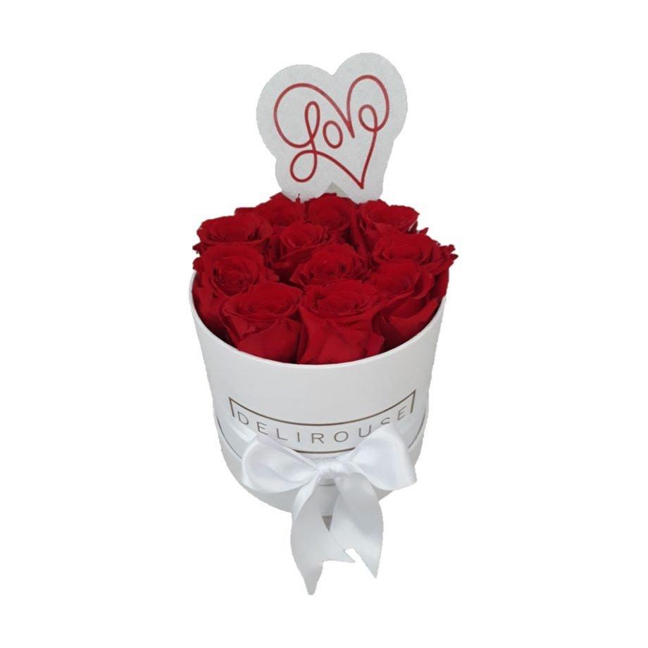 Caja Mediana Cilindrica de Rosas con Topper Personalizado 3