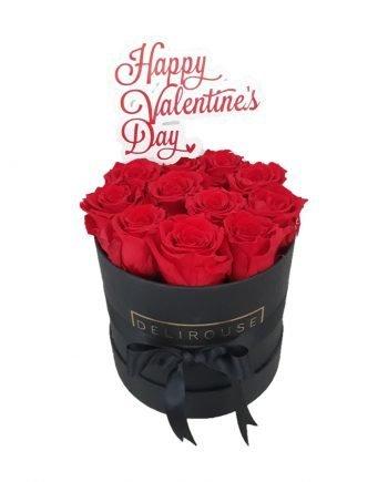 Caja Mediana Cilíndrica de Rosas con Topper Personalizado