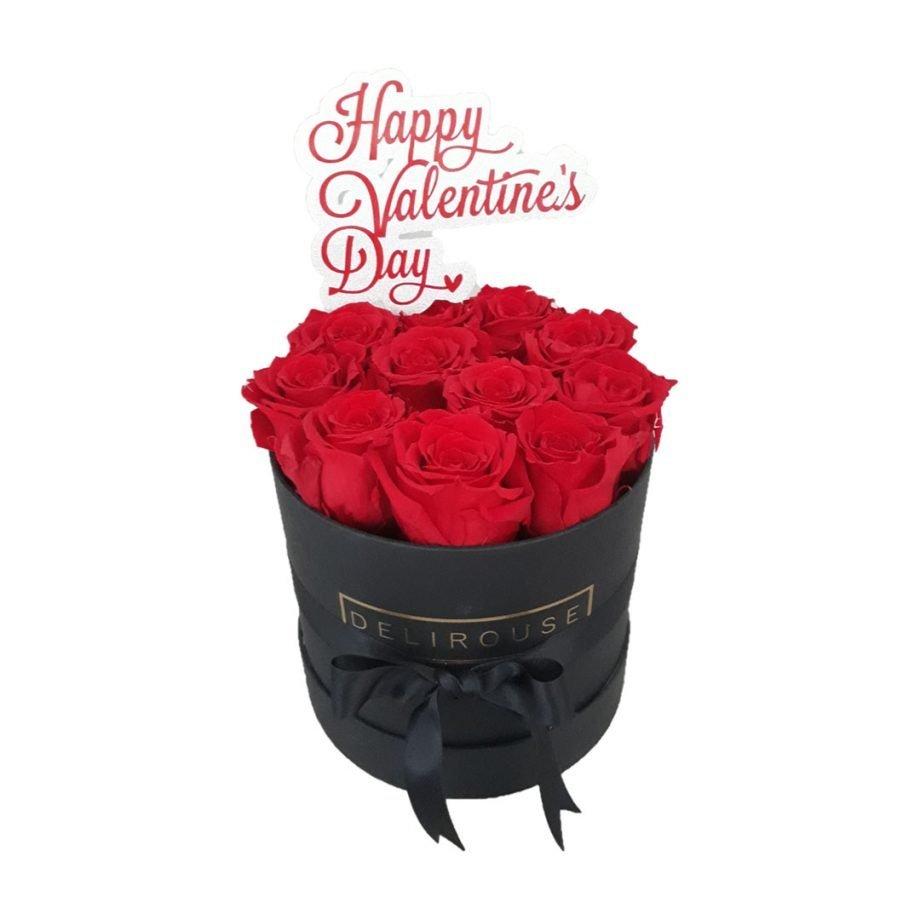 Caja Mediana Cilindrica de Rosas con Topper Personalizado 4