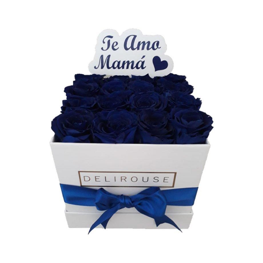 Caja Mediana Cuadrada de Rosas con Topper Personalizado
