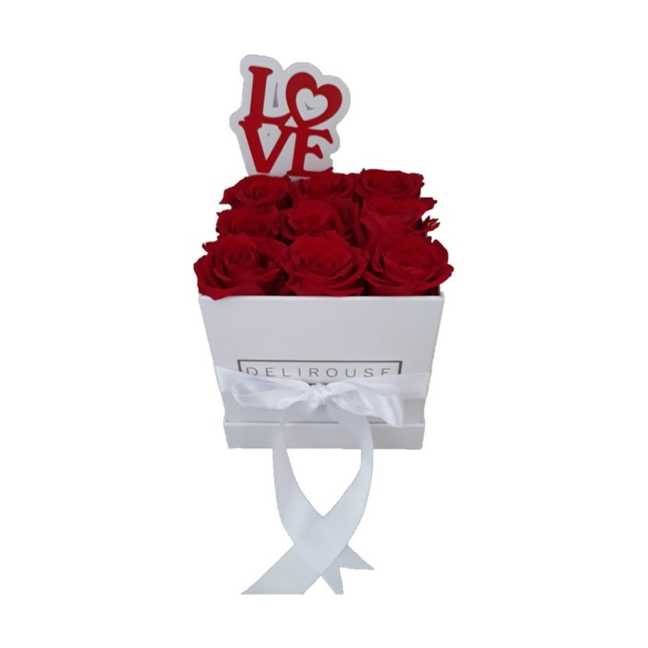 Caja Pequena Cuadrada de Rosas con Topper Personalizado 4