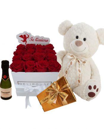 Pack Regalo con Caja Mediana de Rosas Personalizadas, Cava, Chocolates y Peluche