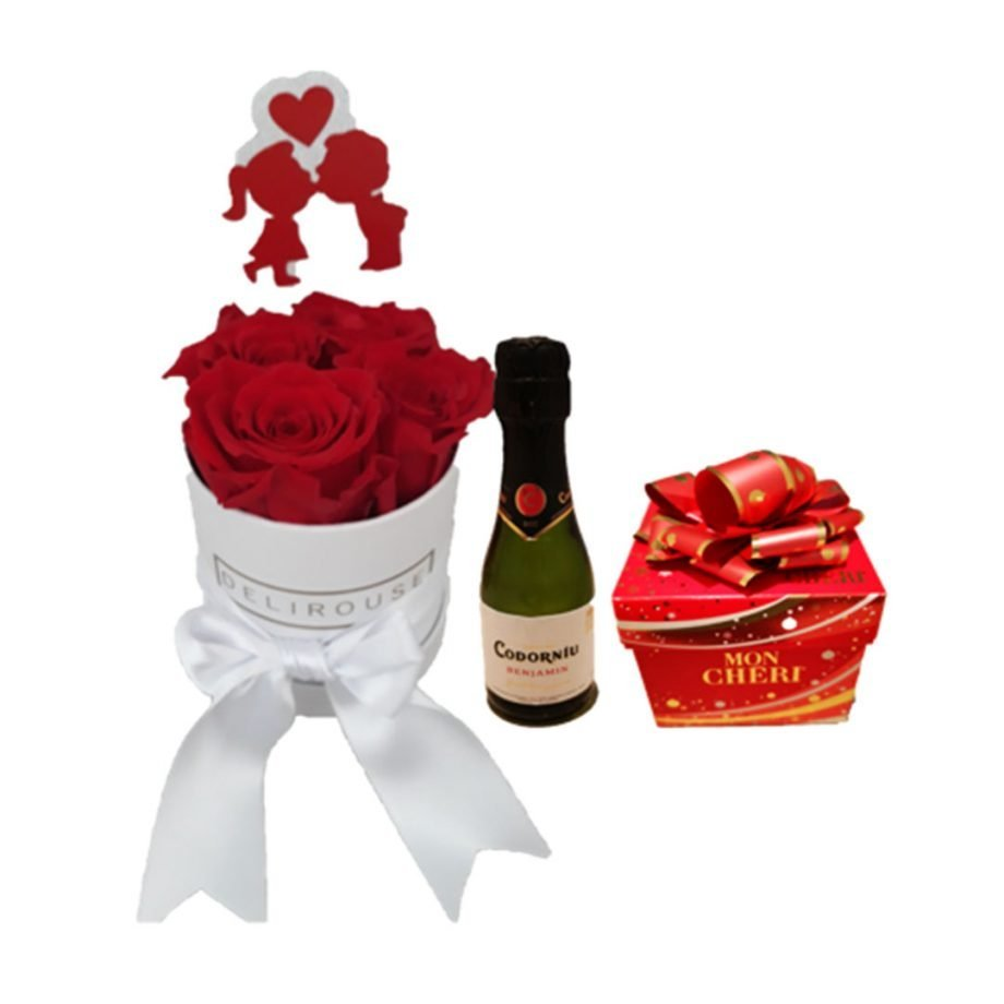 Pack Regalo con Caja Mini de Rosas Personalizadas, Cava y Chocolates