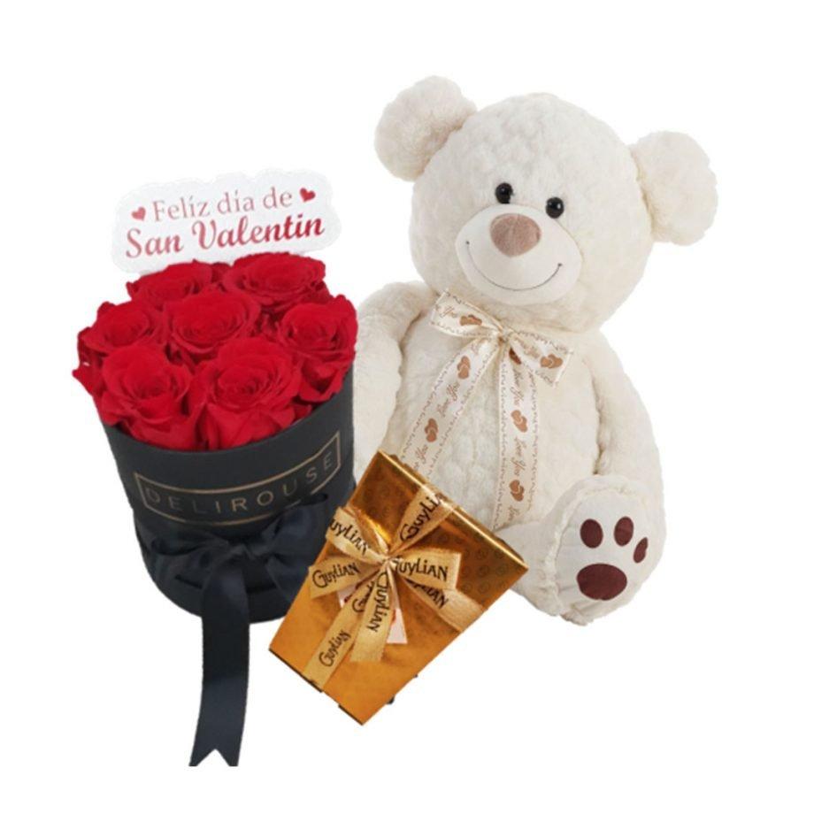Pack Regalo con Caja Pequeña de Rosas Personalizadas, Peluche y Chocolates
