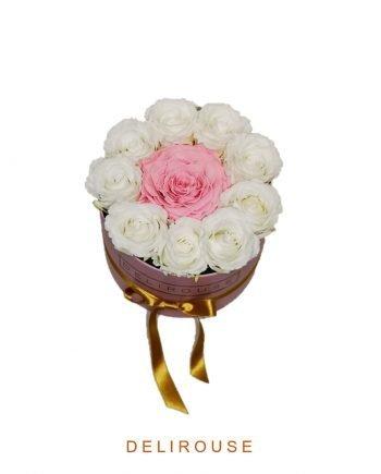 Caja de Rosas Preservadas y Rosa Gigante | DeliRouse España