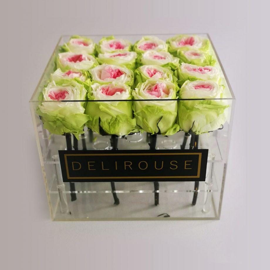 Flores Preservadas - Presentación en Caja Acrílica Mediana
