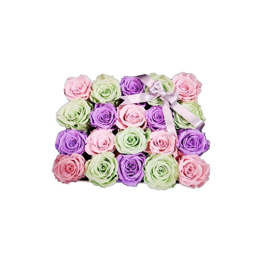 Rosas Eternas - Caja Personalizada con Rosas Eternas Pasteles