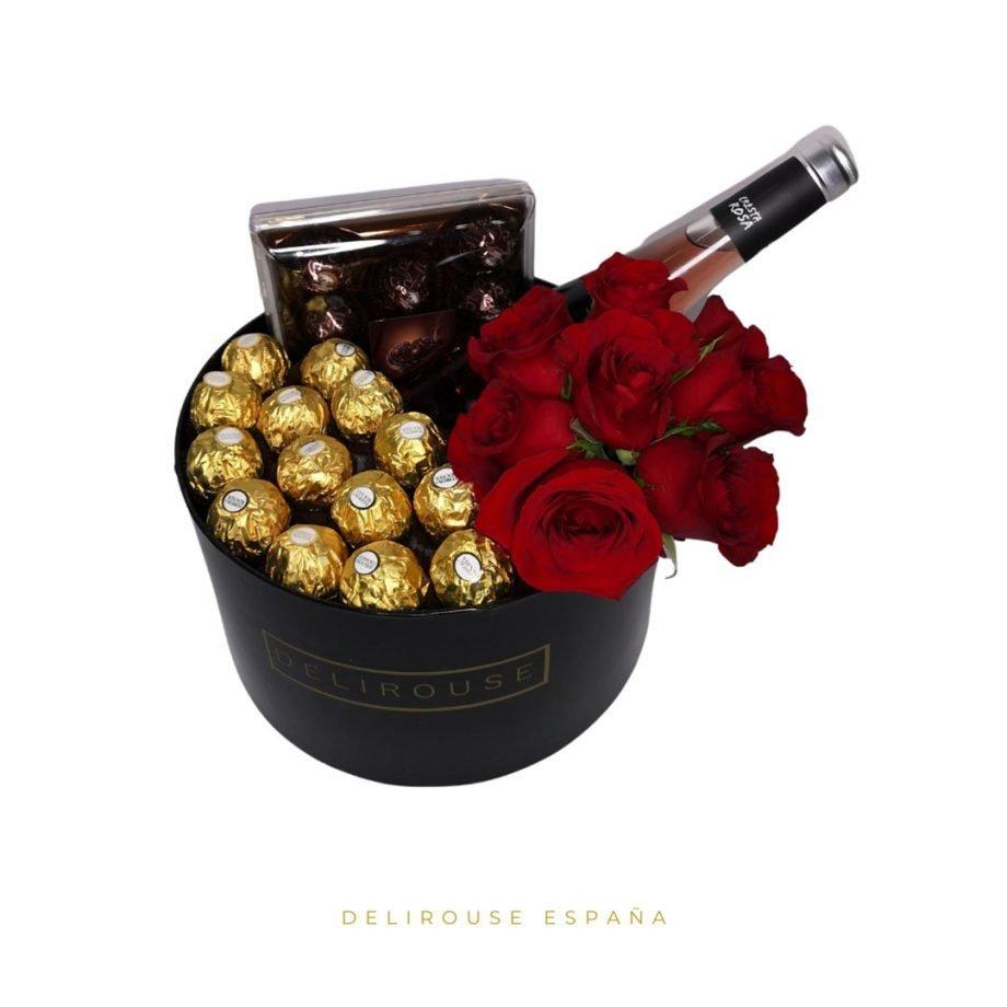Caja Cilíndrica Grande con Bouquet de Rosas Eternas y Complementos