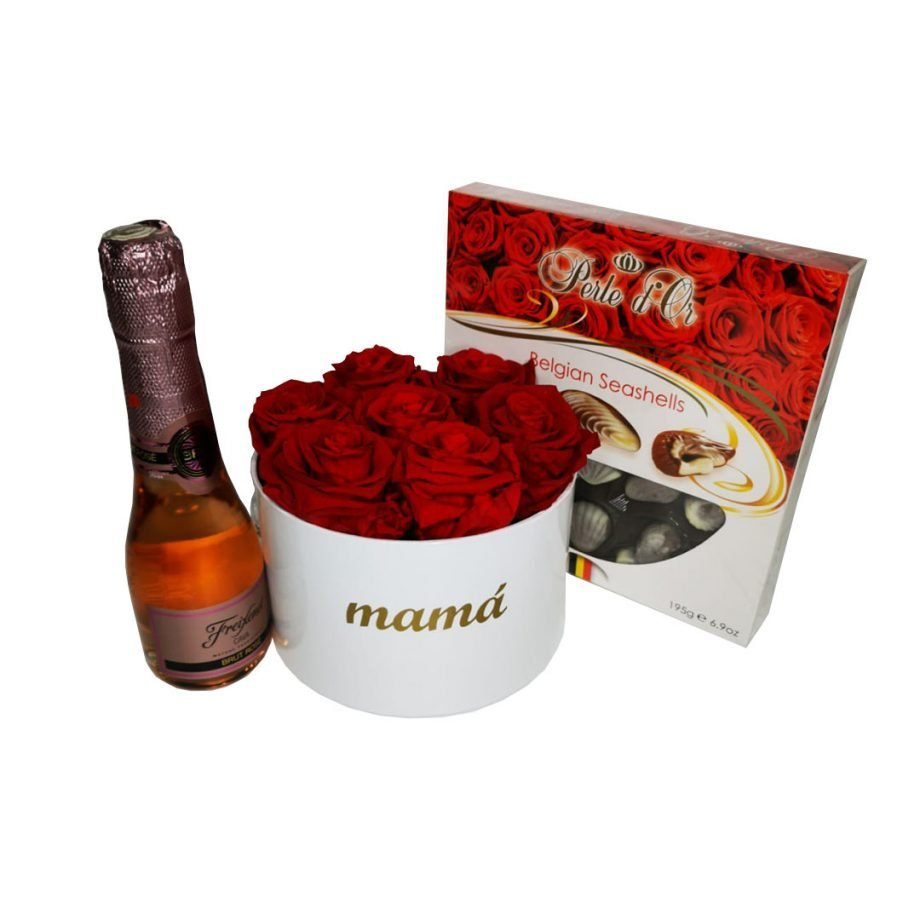 Caja Pequeña de Rosas Preservadas + Mini Cava + Caja de Bombones