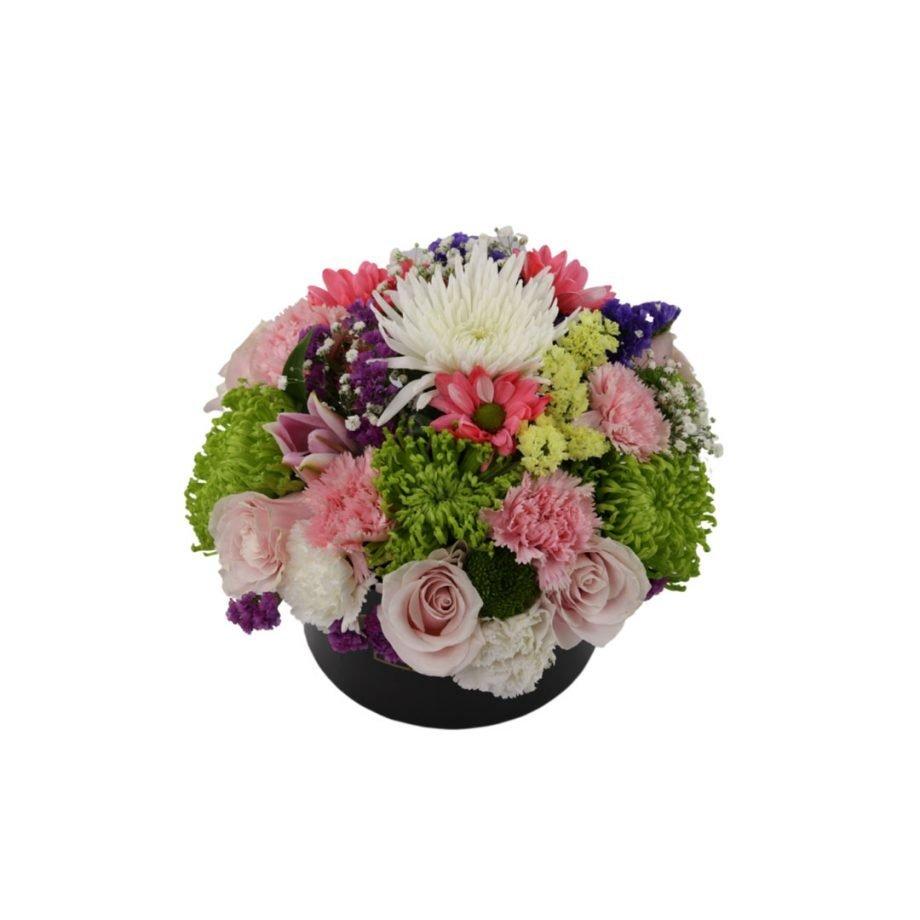 Caja Cilíndrica Mediana de Flores Silvestre