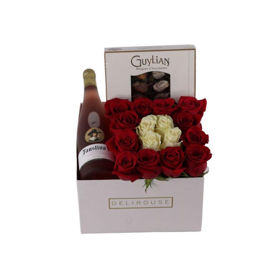 Caja Cuadrada Grande de Rosas y Complementos