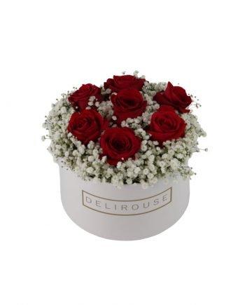 Caja Mediana con Rosas y Relleno Floral