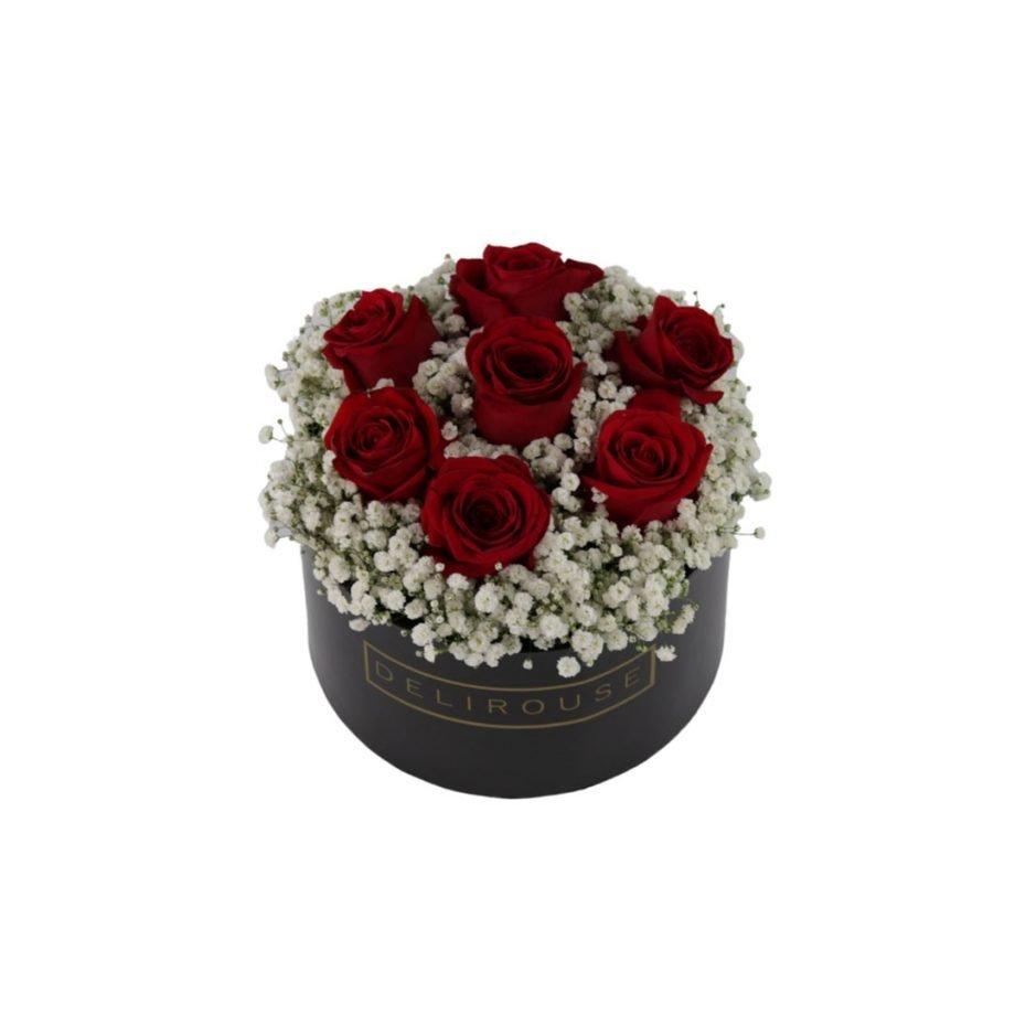 Caja Mediana con Rosas y Relleno Floral 6